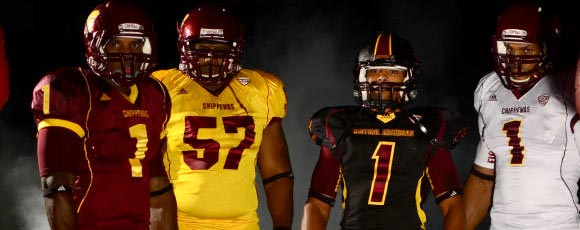 55ecab51e Central Michigan s new uniforms added an all-black and all-gold uniform.  The black set is a different template than the other three